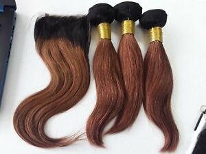 1b/30 OMBRE BRAZILIAN VIRGIN HUMAN HAIR STRAIGHT BUNDLES 10+10+10&10 CLOSURE 12A