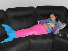 Girls Super Soft Mermaid Tail Blanket Pink and Blue for Ages 2-8 Years