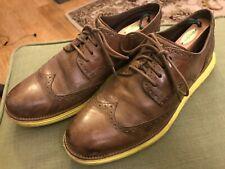 Cole Haan Lunargrand Wingtip Men Oxford Shoes Sz 13 Brown Volt Yellow Soles