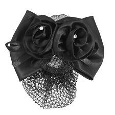 Black Polyester Bow Ribbon Metal Barrette Snood Net Bun Cover Hair Clip for H4Q7