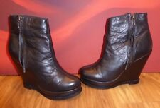 *8* NEXT  Black Leather platform wedge heel  Ankle Boots UK 5 EU 38