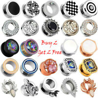 2PCS Stainless Steel Ear Gauges Ear Plugs Flesh Tunnels Stretching Body Piercing