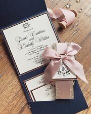 NAVY ROSE GOLD BLUSH PINK GOLD GLITTER POCKETFOLD WEDDING INVITATION *SAMPLE*