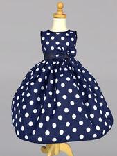 Christmas Polka Dot Summer Holiday Wedding Flower Girl Dress Navy 2 4 6 8 10 12