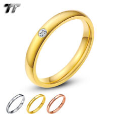 TT 3mm Dazzling Stainless Steel Eternity CZ Wedding Band Ring Size 5-13 R116
