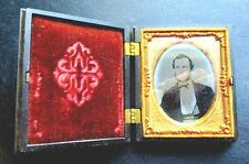 VINTAGE VICTORIAN GUTTA PERCHA FRAMED DAGUERREOTYPE OF YOUNG MAN