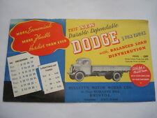 1936 DODGE 3 TON TRUCK MULLETT'S MOTOR WORKS LTD BRISTOL ADVERTISING  BLOTTER