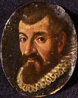 17th CENTURY FLEMISH OLD MASTER OIL ON PAPER - PORTRAIT OF GENTLEMAN - MINIATURE