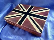 LUXURY UNION JACK PLAYING CARDS BOX VELVET LINED WITH TWIN DECK CARDS