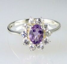 Anelli di lusso con gemme in argento con pietra principale ametista Misura anello 8