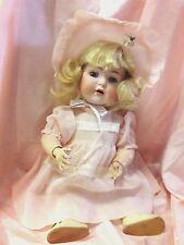 """Adorable Bahr&Proschild #678,17"""" Antique Bisque Doll Pink Dress & Bonnet Great !"""