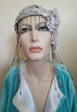 20's Silver Beaded Gatsby Lace Crystal Flapper Wedding Headpiece Hat Belly Dance