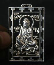 Chinese Miao Silver Buddhism Kwan-Yin Quan Yin Guan Yin Buddha Pendant Amulet
