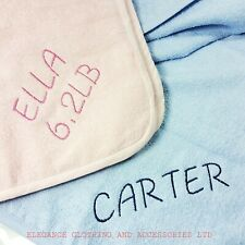 Personalised Custom Cute Hooded Baby Towel Soft 100% Cotton Bath Wrap Blue Pink