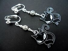 A PAIR OF DANGLY ENAMEL BLACK CAT  & TIBETAN SILVER BEAD CLIP ON EARRINGS. NEW.
