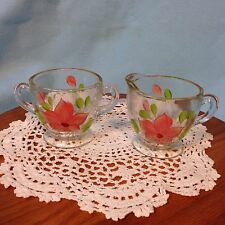 Vintage Hand Painted Creamer and Sugar Bowl Pink and Green Floral Flower