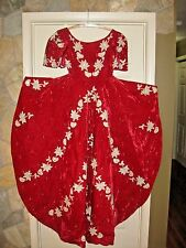 Antique Vtg Ball Gown Opera Dress Red Velvet Lace Beaded Renaissance Queen Gown