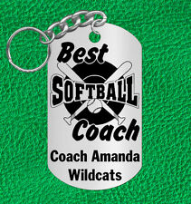 Softball Coach Keychain Gift, Personalized with Coach's Name & Team!