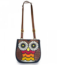 # New LOUNGEFLY Denim Owl PURSE Bag Handbag CROSSBODY Faux Leather Bird Brown