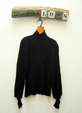 Vintage 60s genuine BIBA black crepe theatrical gothic shirt/blouse-Size -10
