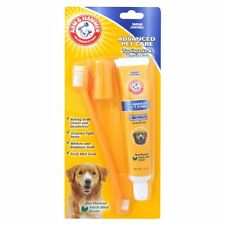 ARM & HAMMER- 3 PIECE DOG TOOTHPASTE & BRUSH SET- FIGHTS TARTAR & SMELLY BREATH!