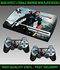 PLAYSTATION 3 CONSOLE MASS EFFECT 3 FEMALE SHEPARD SKIN GRAPHICS & 2 PAD SKINS