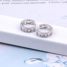 18k White Gold Filled Elegant Zircon Huggie Earrings