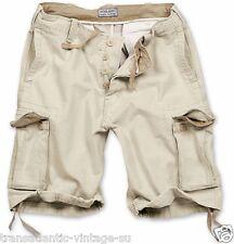 "Surplus Vintage Cargo Shorts Mens Army Style Combat Washed Cotton Beige 40"" Waist (2xl)"
