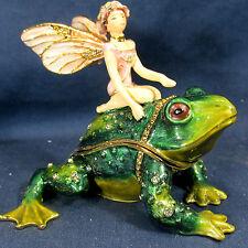 Fairy on Frog Jeweled Pewter Trinket Box Mythical Fantasy