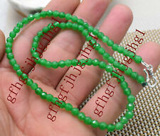 AAA Fine 4mm Emerald Green Faceted Roundel Gems Beads Necklace Silver Clasp