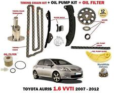 FOR TOYOTA AURIS 1.6 VVTI 2007-> TIMING CHAIN + TENSIONER OIL PUMP KIT + FILTER
