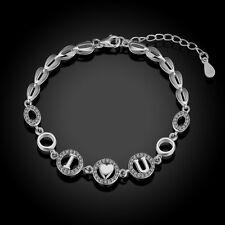 Armband 925 Sterling Silber Kristall Herz Gravur I love you Liebe Geschenk NEU