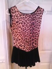 Orange BLACK LEOPARD PRINT Ice Figure Skating Dress. Size C/M