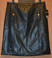 Womens Black Leather Look Liz Caiborne Flat Front Skirt Size 16P NWT NEW