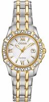 Citizen Eco-Drive Women's Two-Tone Diamond Bezel Bracelet 26mm Watch EW2364-50A
