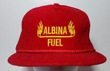 Albina Fuel Hat Cap Corduroy Snapback Vintage Red Yellow Flames Oregon