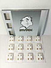Studex Ear Piercing Earrings 12 Pair 4mm Regular Gold Plated Birthstone R213Y