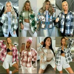 Womens Ladies Checkered Jacket Tartan Check Oversized Baggy Collared Shacket Top