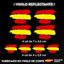 8 X VINILO PEGATINA BANDERA DE ESPAÑA REFLECTANTE COCHES MOTOS CASCO STICKER