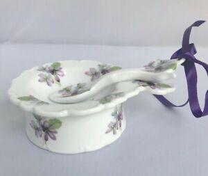 Tea Strainer Dripping Bowl & Spoon Purple Flower Pansy 3-piece