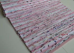 Pink Chindi Rag Rug Runner 60x180cm 2'x6' Handmade Recycled Eco Friendly