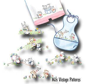 Vintage Baby's Bib Embroidery Pattern ~ Lambs, Kittens