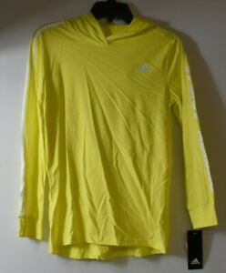 Adidas Boys Lightweight Graphic Long Sleeve Hooded Pullover Shock Yellow Youth L