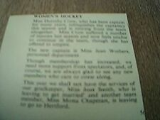 ephemera 1957 kalamazoo hockey dorothy crow jean worthers