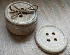 6 x Button Wood Coasters Sewing Gift Shabby Wood Vintage Chic Coaster Country