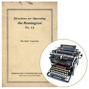 REMINGTON 12 TYPEWRITER INSTRUCTION MANUAL Antique Standard Right Hand Vtg Repro