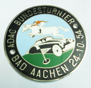 ADAC BUNDESTURNIER BAD AACHEN 24.10.54 CAR GRILL BADGE EMBLEM MG JAGUAR TRIUMPH
