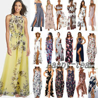 Women Boho Long Maxi Dress Summer Beach Cocktail Evening Party Floral Sundress M
