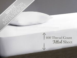 """400 THREAD COUNT 100% EGYPTIAN COTTON EXTRA DEEP FITTED SHEET 16"""" 40CM DROP"""