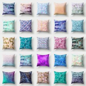 "18""Gradient Printed Cushion Cover Pink Blue Fish Scale Sequin Pattern Home Decor"